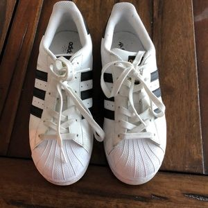 Adidas superstar black and white 6.5! Barely used